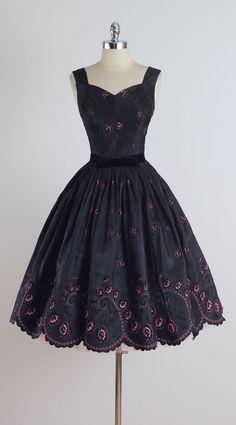 Vintage 1950s Black Pink Flocked Cocktail Dress
