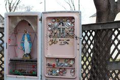 Virgin Mary...love the fridge.