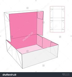 Box With Flip-Flop Lid And Die-Cut Pattern Stock Vector Illustration 184749809 : Shutterstock