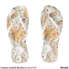 Summer seashells flip flops