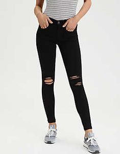 American Eagle Super Stretch X Hi-Rise Jegging (short - Ripped Jeans for women - Ideas of Ripped Jeans for women Ripped Jeans Style, Womens Ripped Jeans, Ripped Jeans Outfit, Ripped Shorts, Ripped Skinny Jeans, Casual Jeans, Jeans Pants, Jeggings Outfit, Ae Jeans