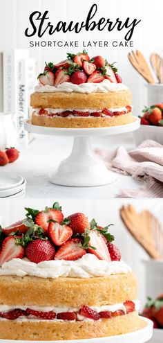Fresh juicy strawberries, mascarpone whipped cream, and light Victorian sponge cake come together in this easy Strawberry Shortcake Layer Cake! Summer Desserts, Just Desserts, Delicious Desserts, Yummy Food, Light Desserts, Best Cake Recipes, Sweet Recipes, Dessert Recipes, Easter Recipes