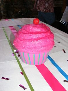 paper mache cupcake centerpiece