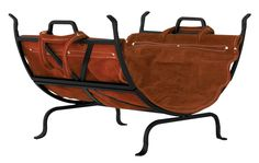 Uniflame® Black Wrought Iron Log Holder with Suede Leather Carrier