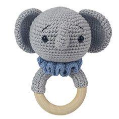 Nashorn Baby Rassel gehäkelt - Universalecke Tweety, Crochet Hats, Baby, Character, Rhinos, Elephants, Crocheted Hats, Babys