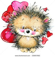 cute hedgehog and red heart. background for card congratulations. Illustration Inspiration, Cute Animal Illustration, Cute Animal Drawings, Hedgehog Art, Cute Hedgehog, Watercolor Artwork, Watercolor Illustration, Teddy Bear Pictures, Valentine Images