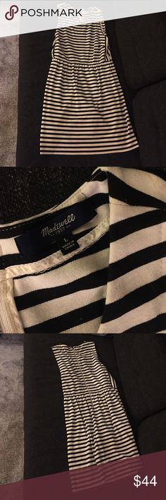 Madewell black and cream striped dress, size L Barely worn. Super comfy and cute! Has pockets. Madewell Dresses Midi