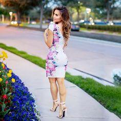 Check out Daphne Joy wearing our Kardashian Kollection for Sears white floral low back dress.