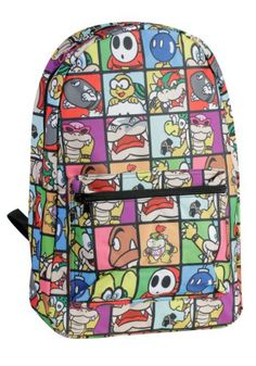 This Mario Brothers Backpack has all the bad guys on it! The Koopalings, Goombas, Bowser and Shy Guy all make appearances on it.