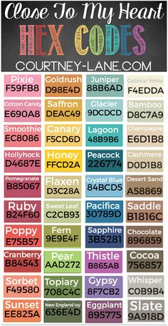 Close To My Heart Hex Code Cheat Sheets including the NEW colors!