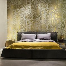 Transport your interior to a tropical jungle with the Ligna Canopy wallcovering which plays on the foliage trend by giving it a geometric twist. Inspired by textures found in trees, roots, and wildlife, this collection has a fairy tale feel to it. Arte Wallcovering, Canopy, Flora, Couch, Luxury, Bed, Interior, Inspiration, Furniture