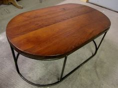 Past Projects - Solid Wood Topped Oval Coffee Table with Rebar Base