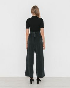 Are Studio Weston Tie Pants in Onyx   The Dreslyn