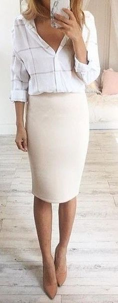 Beige/nude pencil skirt and white checked collared blouse for work! Pair with some nude heels and a matching blazer to bring this look from business casual to formal!