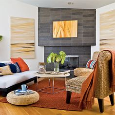 Looking for Contemporary Living Space ideas? Browse Contemporary Living Space images for decor, layout, furniture, and storage inspiration from HGTV. Coastal Living Rooms, Boho Living Room, Living Spaces, Living Room Orange, Orange Rugs, Blue Orange, Coastal Style, Modern Coastal, Home Remodeling
