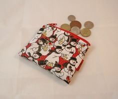 Snowmen Scene Fabric Coin Purse - Free P £5.00