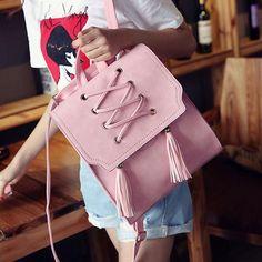 Retro Girl's Cross Bandage Tassels Flap Square School Bag Weave Leisure Brown Travel Backpack