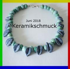 Keramikschmuck in schönen Sommerfarben. Turquoise Bracelet, Beaded Necklace, Bracelets, Jewelry, Atelier, String Of Pearls, Clay, Silver, Patterns