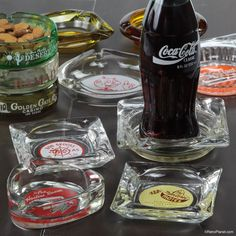 Vintage glass ashtrays can easily be repurposed to create cool DIY decor. Use them to serve up candy & nuts, or as a functional piece of home decor.