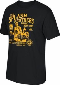 Golden State Warriors adidas Splash Brothers Invade New York All-Star Tee - Black/Gold - Click to enlarge