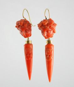 Italian 14k rose gold carved coral cherub and urn earrings, c.1850