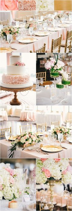 featured photographer: Still55 Photography; pink, blush and gold wedding reception color idea