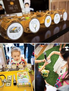 one year birthday party idea (from a korean tradition)... have five different occupations on jars, let guests choose which occupation baby will choose, then let baby choose (by crawling towards them) between five props representing different careers. see post for details.