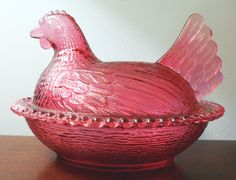 "Antique Chicken On Nest | Indiana Glass Hen on Nest dish in ""Cranberry"""