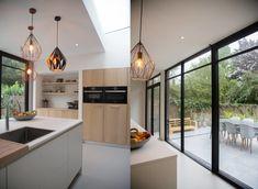 Verbouwing Rosmalen - Annarchi Glass Door, Kitchen Island, New Homes, Patio, Doors, Living Room, Interior, Table, House