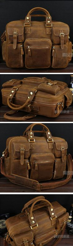 f5130cfeb545 Best Gift Crazy Horse Leather Briefcase Laptop Bag Dispatch Shoulder Huge  Duffle Brown Yellow Well Dressed
