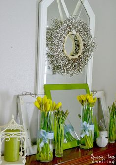 Lemon Tree Dwelling: Fresh Green Spring Mantel #decorating #springtime
