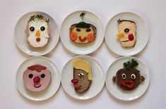 food faces by Sabine Timm fun kids food ideas Cute Food, Good Food, Yummy Food, Happy Foods, Food Humor, Cooking With Kids, Cooking Tips, Macaron, Kid Friendly Meals