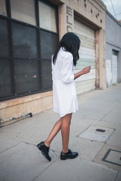 Acne Studios dress and brogues