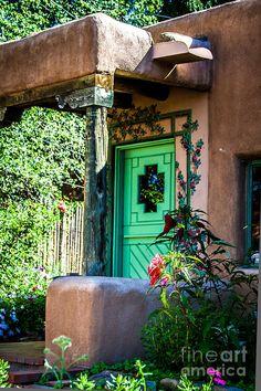 Santa Fe style entrance - The Green Door; photo by Jim McCain; Santa Fe, New Mexico