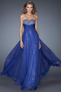2014 Enchanted Sweetheart A Line Empire Wasit Floor Length Prom Dress Chiffon&Lace Dark Royal Blue