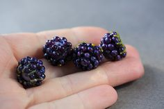 Lampwork Blackberry Glass Lampwork Beads by JewelryBeadsByKatie