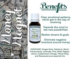 Money Magnet Essential Oil Blend helps you to clear emotional patterns which get in the way of receiving. #aromatherapy