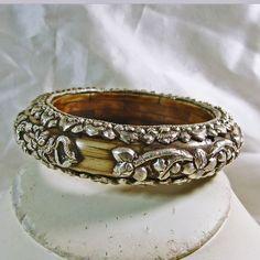 Tibetan Bone and Sterling Silver Bracelet