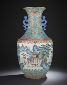 A MAGNIFICENT FINE TURQUOISE-GROUND FAMILLE ROSE 'HUNDRED BOYS' VASE, QIANLONG IRON-RED SIX-CHARACTER SEAL MARK AND OF THE PERIOD (1736-1795)