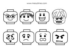 A collection of lego faces all in various formats – black/white, colour, dotted. View images below or download the full PDF.