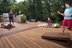 Less time working on your deck means more time playing on it. Trex composite decking is low-maintenance and ensures that you can enjoy your outdoor living space all summer long without spending hours maintaining it. Trex Composite Decking, Wpc Decking, Grill Design, Deck Design, Havana, Decking Panels, Diy Deck, Deck Patio, Deck Pictures