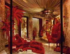 Hermes Red and gold.  Winter 2000  #window #display