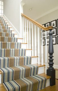 Casual Staircase Runner - traditional - Staircase - Other Metro - Judy Cook Interiors, LLC House Stairs, Carpet Stairs, Hall Carpet, Cottage Staircase, Basement Stairs, Basement Ideas, Home Stairs Design, House Design, Stair Design