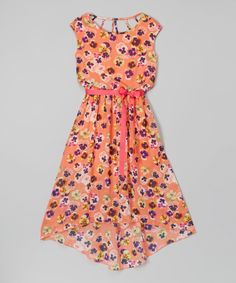 Love this Speechless Coral Flower Hi-Low Maxi Dress - Girls by Speechless on #zulily! #zulilyfinds