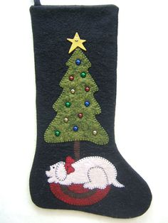 Unique Wool Felt Stocking Hand Appliqued by MikeandMollyscrafts