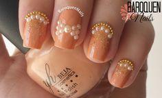 Original Nail Designs - & Stamping Nail Art - Designer Press On Nails Stamping Nail Art, 3d Nail Art, Pink Nails, My Nails, Peach Nail Art, Nailart, Pearl Nails, Nails Short, June Birth Stone