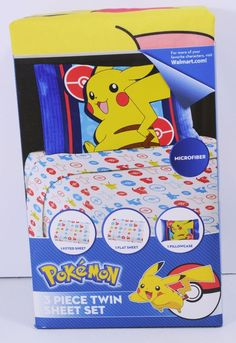 Pokemon 3 Piece Sheet Set Twin Size Pikachu Electric Ignite ~ Free Shipping #PokemonPikachu