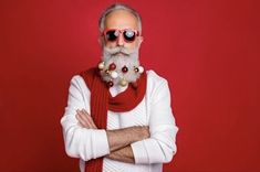 Christmas Spirit Jolly Holiday, Red Background, His Hands, White Sweaters, Eyeglasses, Eyewear, Round Sunglasses, Business Portrait, Stock Photos