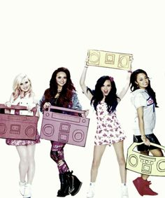 Little Mix holding boomboxes. :)