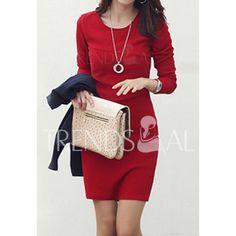 $5.83 Women's Long Sleeve Slim Fit OL Bag Hip Dress Pure Color